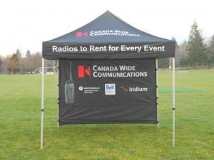 Event tent rental Canada Wide Communications with banner