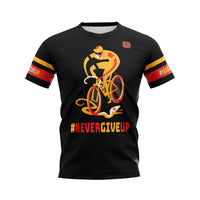 #NeverGiveUp Tech T-Shirt (Male Cyclist Artwork)