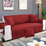 Quilted Cotton Sofa Covers Maroon With Cushion Covers