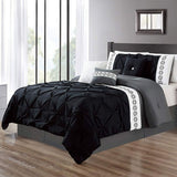 8 Pcs Pintuck Embroidered Duvet Set - Black