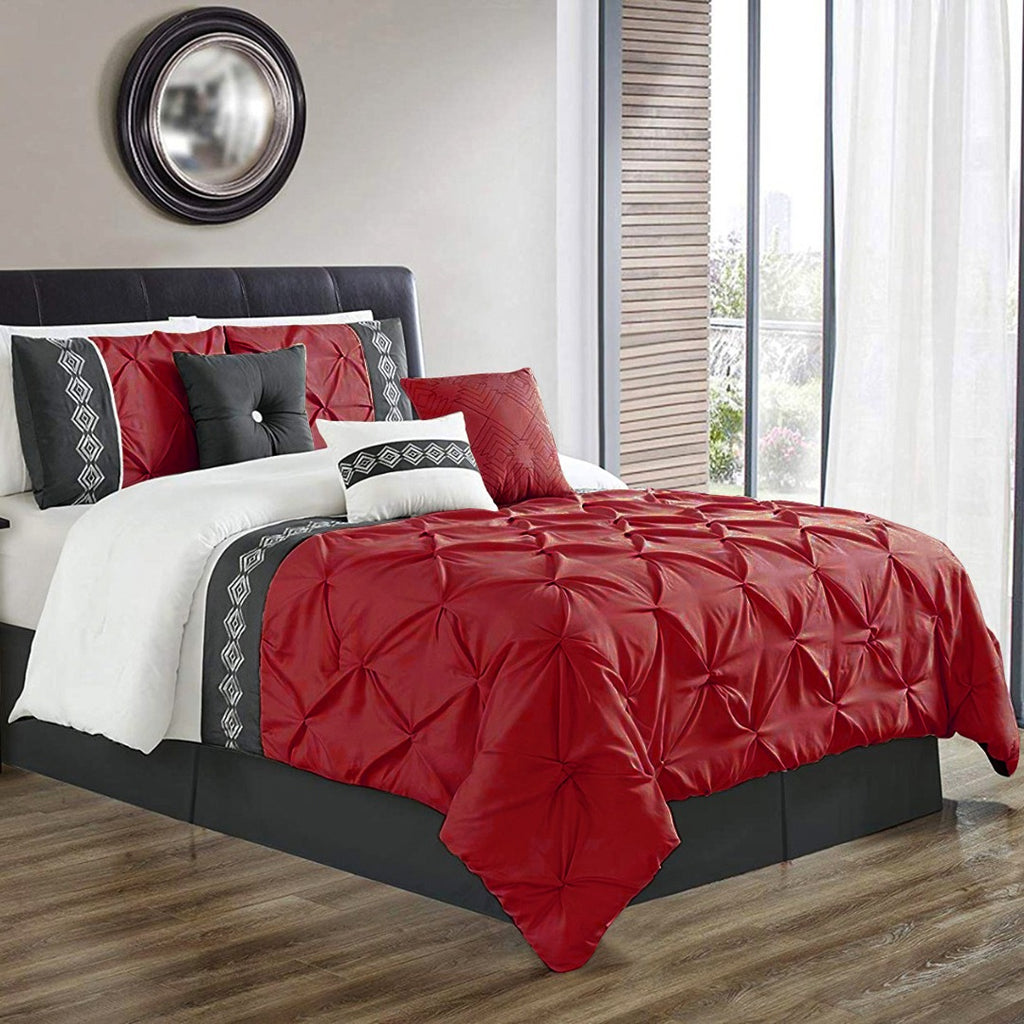 8 Pcs Pintuck Embroidered Duvet Set - Red 02