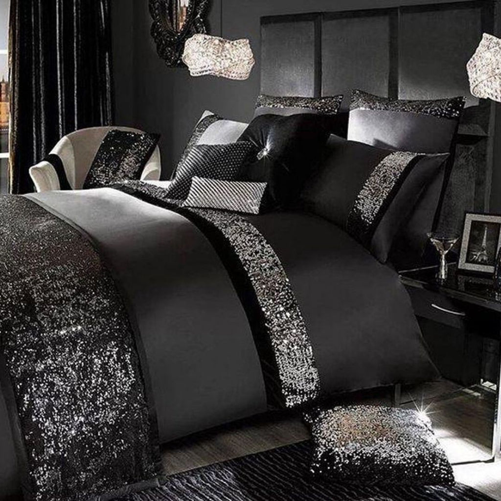 Black Luxury Sequenced Bridal set with Quilt Filling & Runner