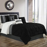 8 Pcs Pintuck Embroidered Duvet Set - Black 02