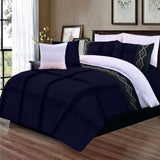 8 Pcs Pleated Embroidered Duvet Set Navy