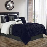 8 Pcs Pintuck Embroidered Duvet Set - Blue 02