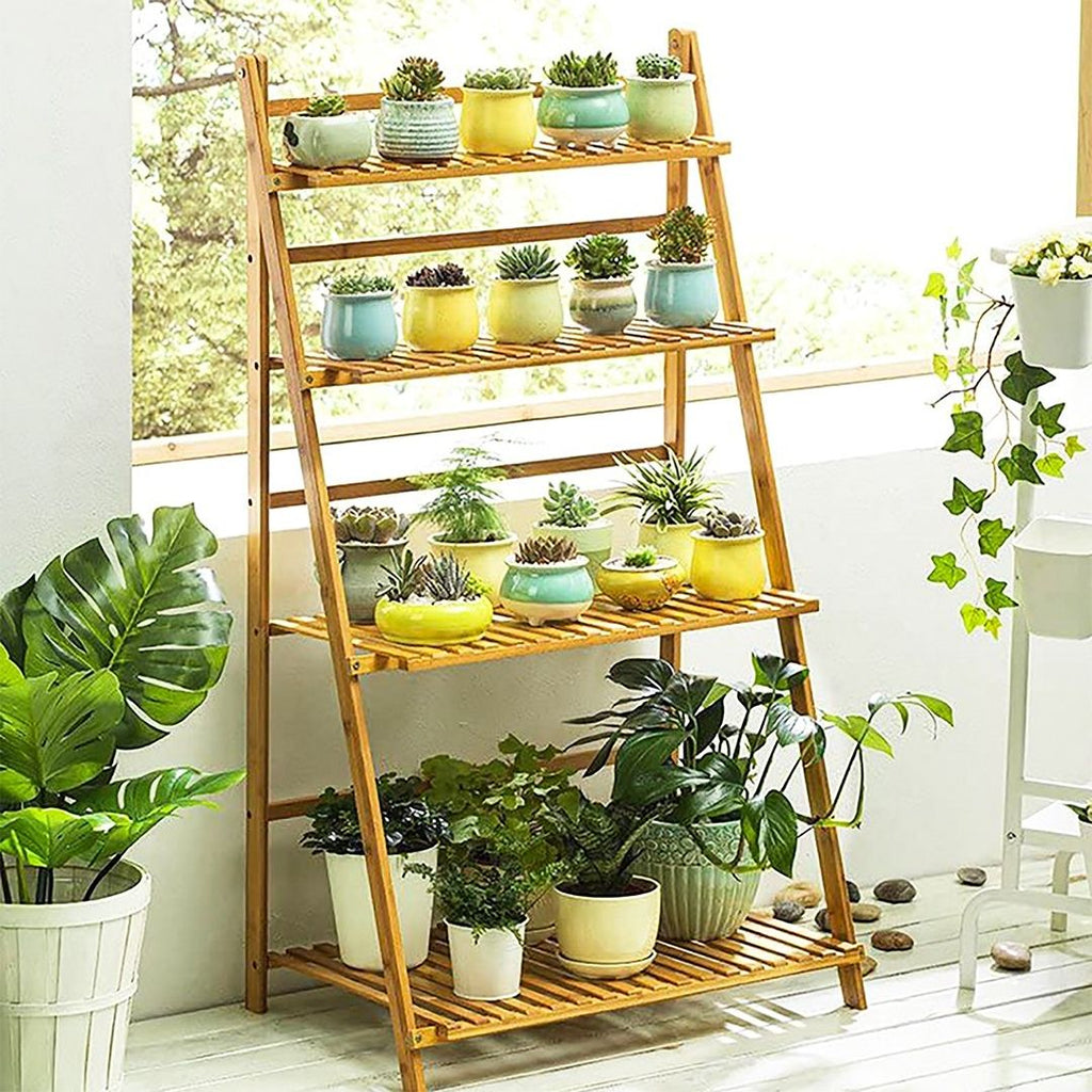 Bamboo Wood Ladder Plant - 4 Layered