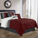 8 Pcs Pintuck Embroidered Duvet Set - Maroon 02