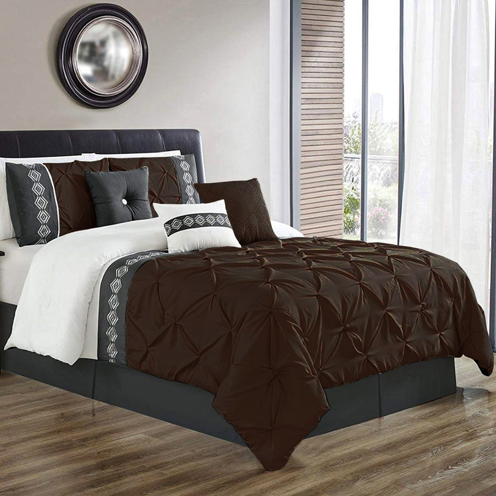8 Pcs Pintuck Embroidered Duvet Set - Brown 02