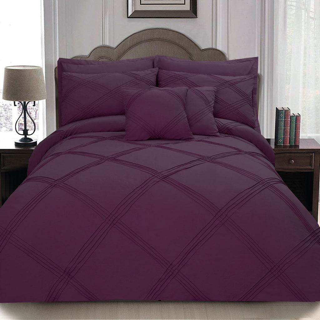 8 pcs 3 Row Cross Pleated Duvet Set - Burgundy