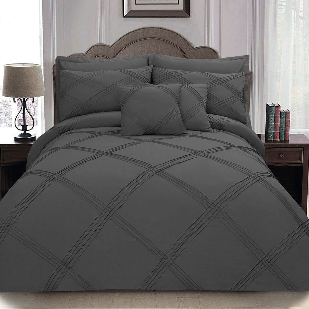 8 pcs 3 Row Cross Pleated Duvet Set - Charcoal Grey