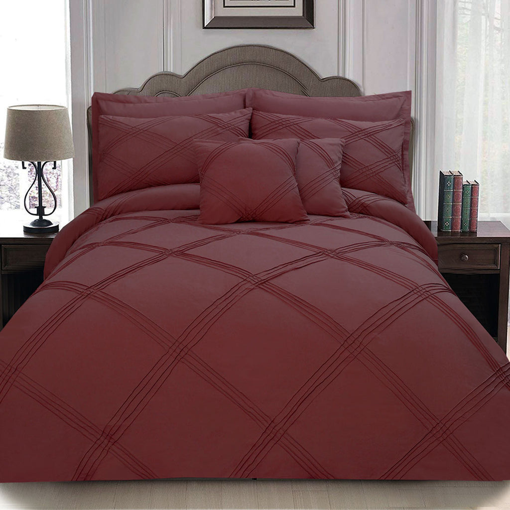 8 pcs 3 Row Cross Pleated Duvet Set - Maroon