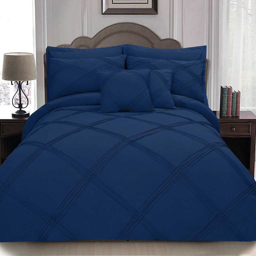 8 pcs 3 Row Cross Pleated Duvet Set - Navy Blue