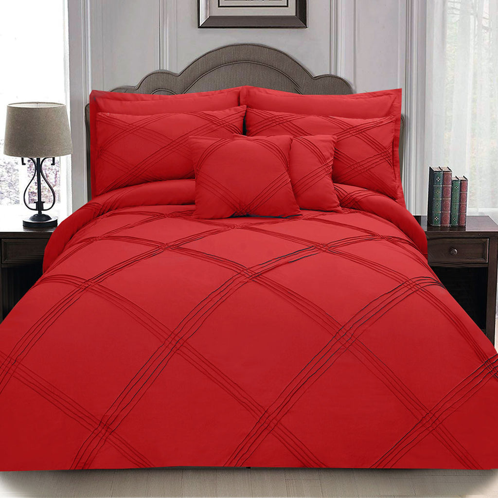 8 pcs 3 Row Cross Pleated Duvet Set - Red