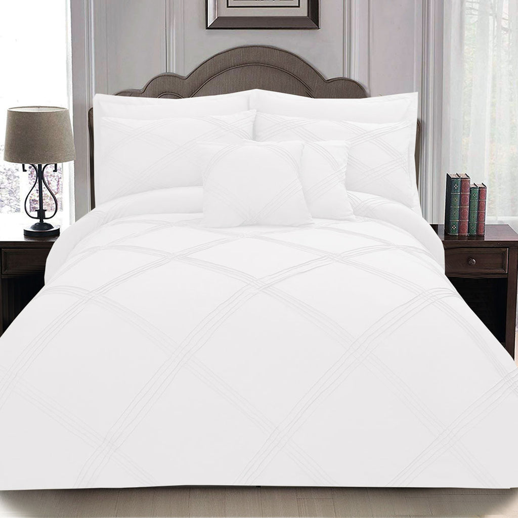 8 pcs 3 Row Cross Pleated Duvet Set - White