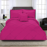 8 Pcs Cross Pleated Duvet Set - Fuchsia