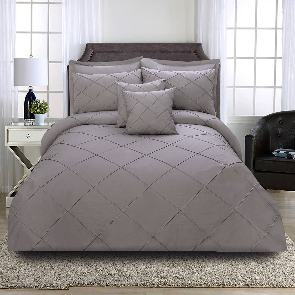 8 Pcs Cross Pleated Duvet Set - Grey