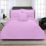 8 Pcs Cross Pleated Duvet Set - Pink