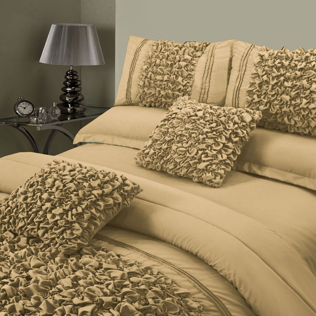 8 Pcs Embellished Comforter Set - Beige