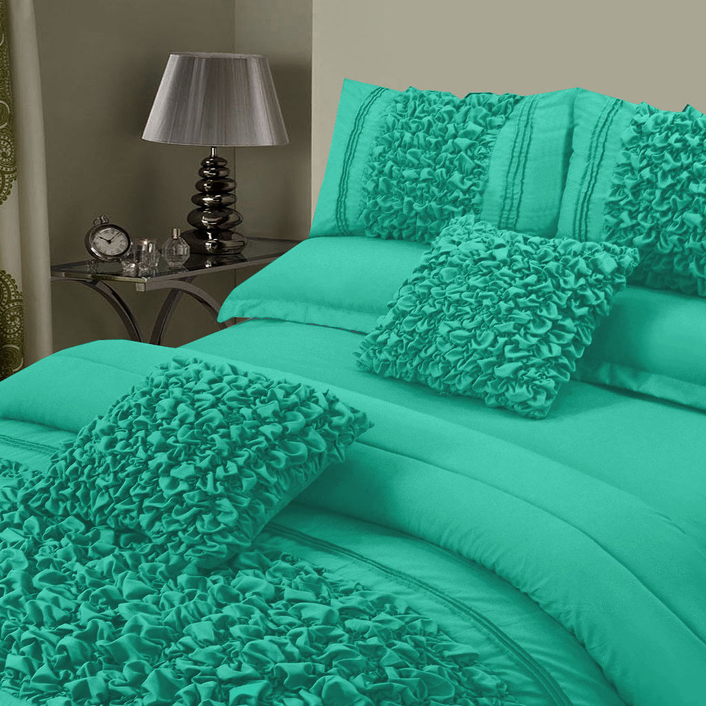 8 Pcs Embellished Comforter Set - Teal
