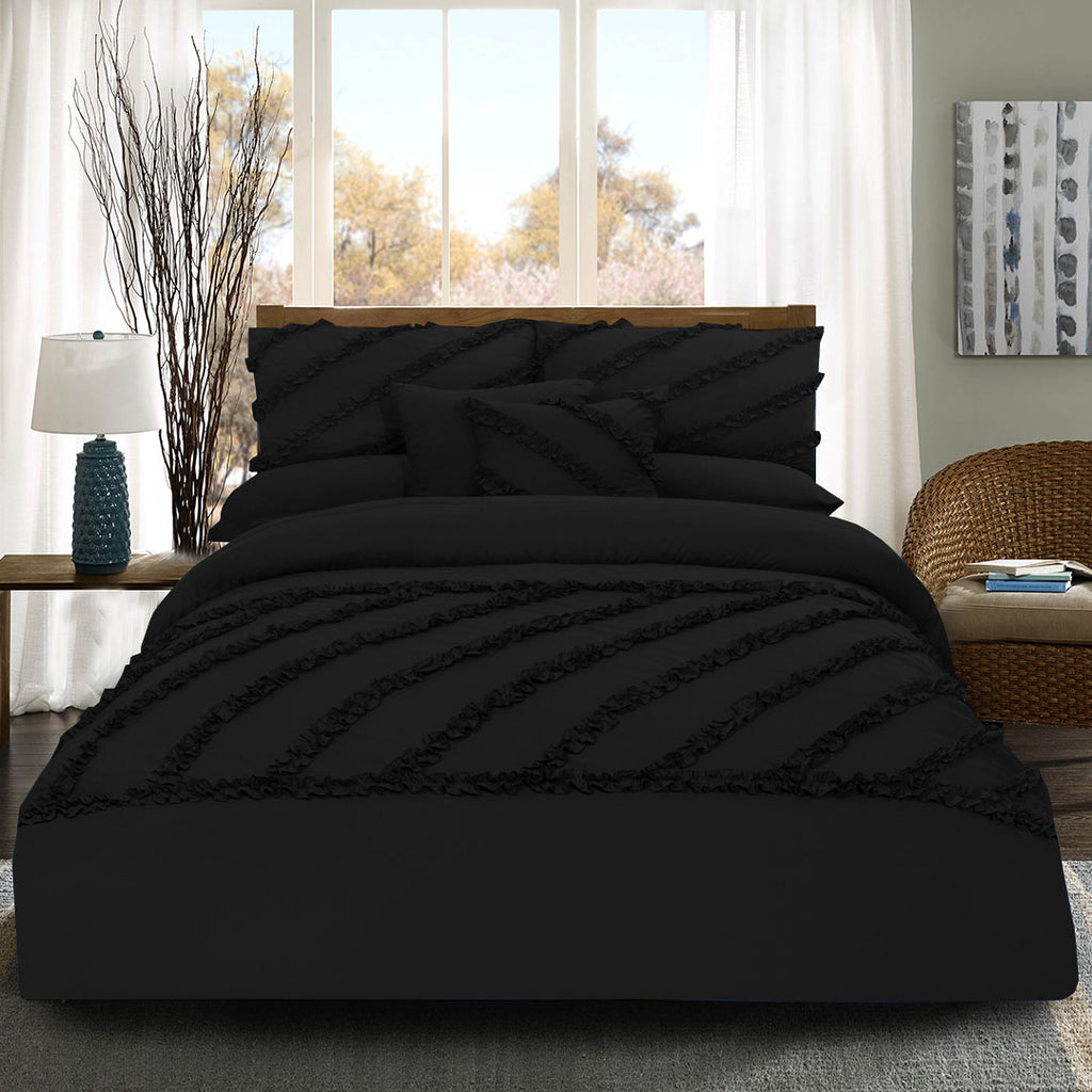 8 Pcs Frilly Comforter Set - Black