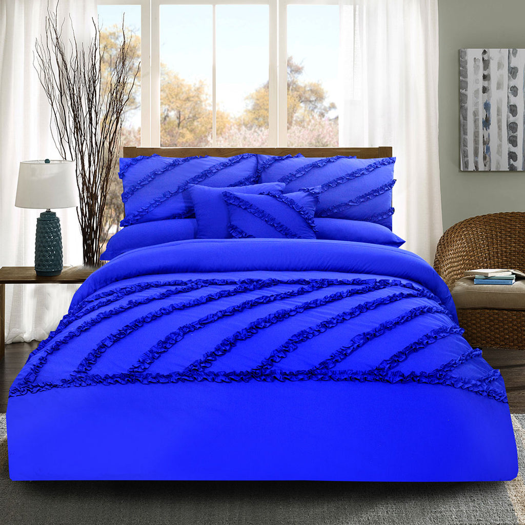 8 Pcs Frilly Comforter Set - Royal Blue