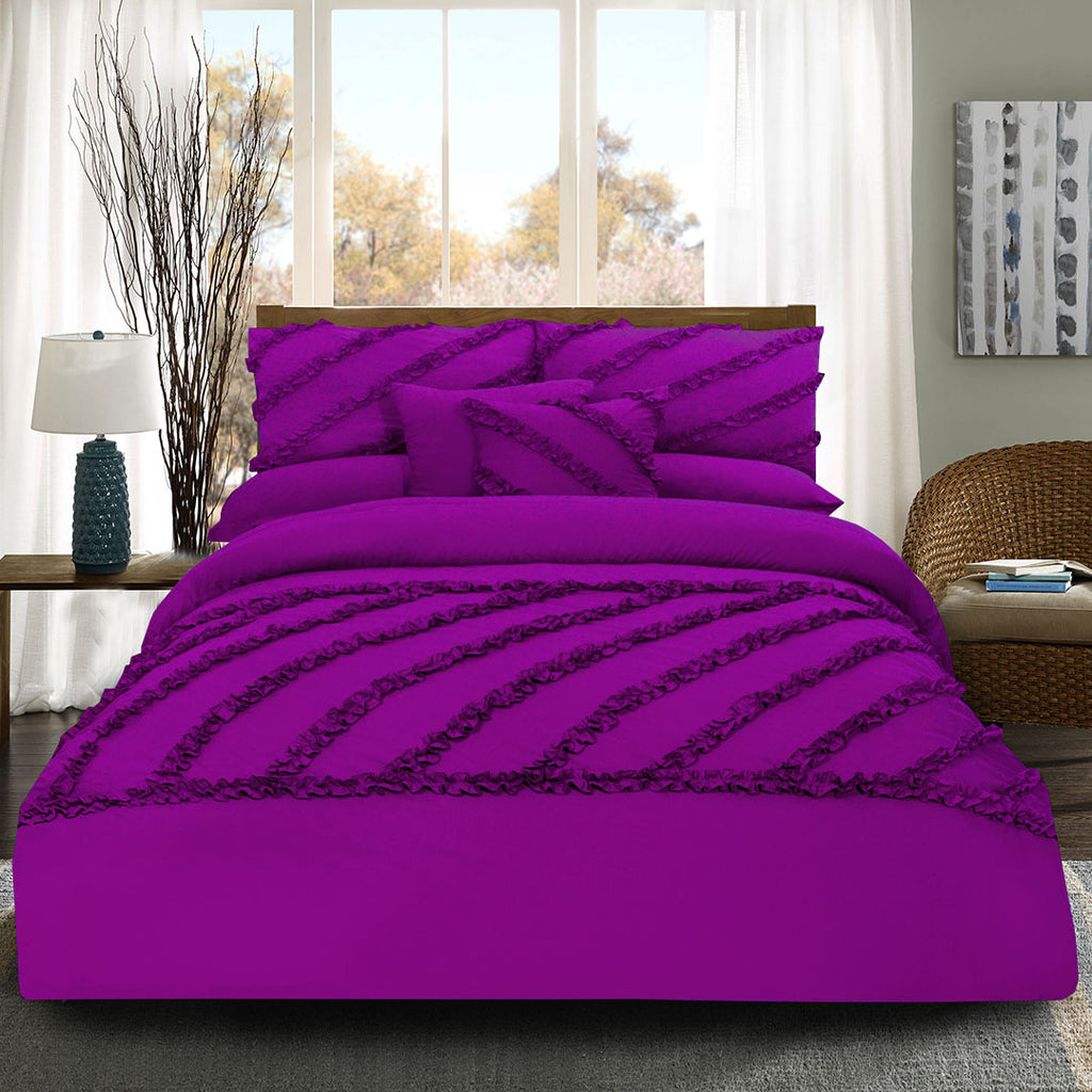 8 Pcs Frilly Comforter Set - Violet
