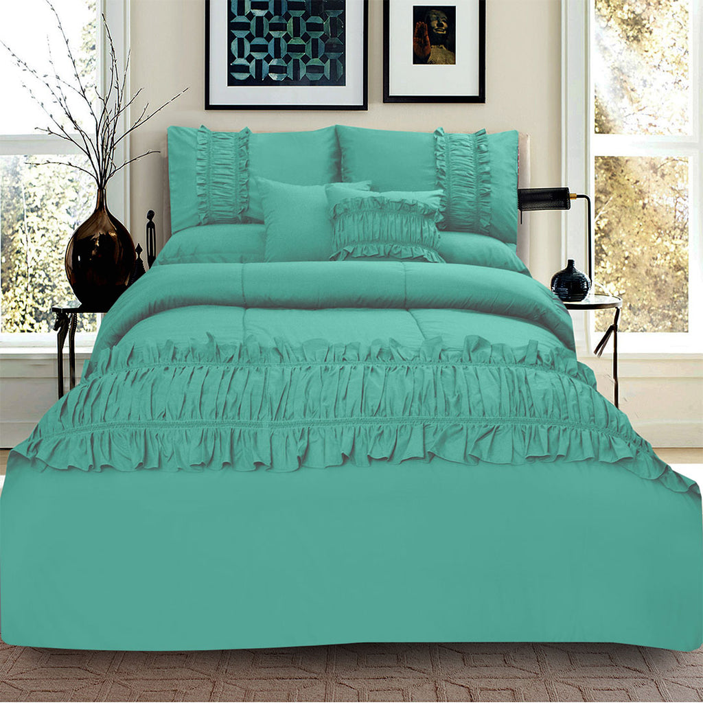 8 Pcs Ruffled Comforter Set - Teal