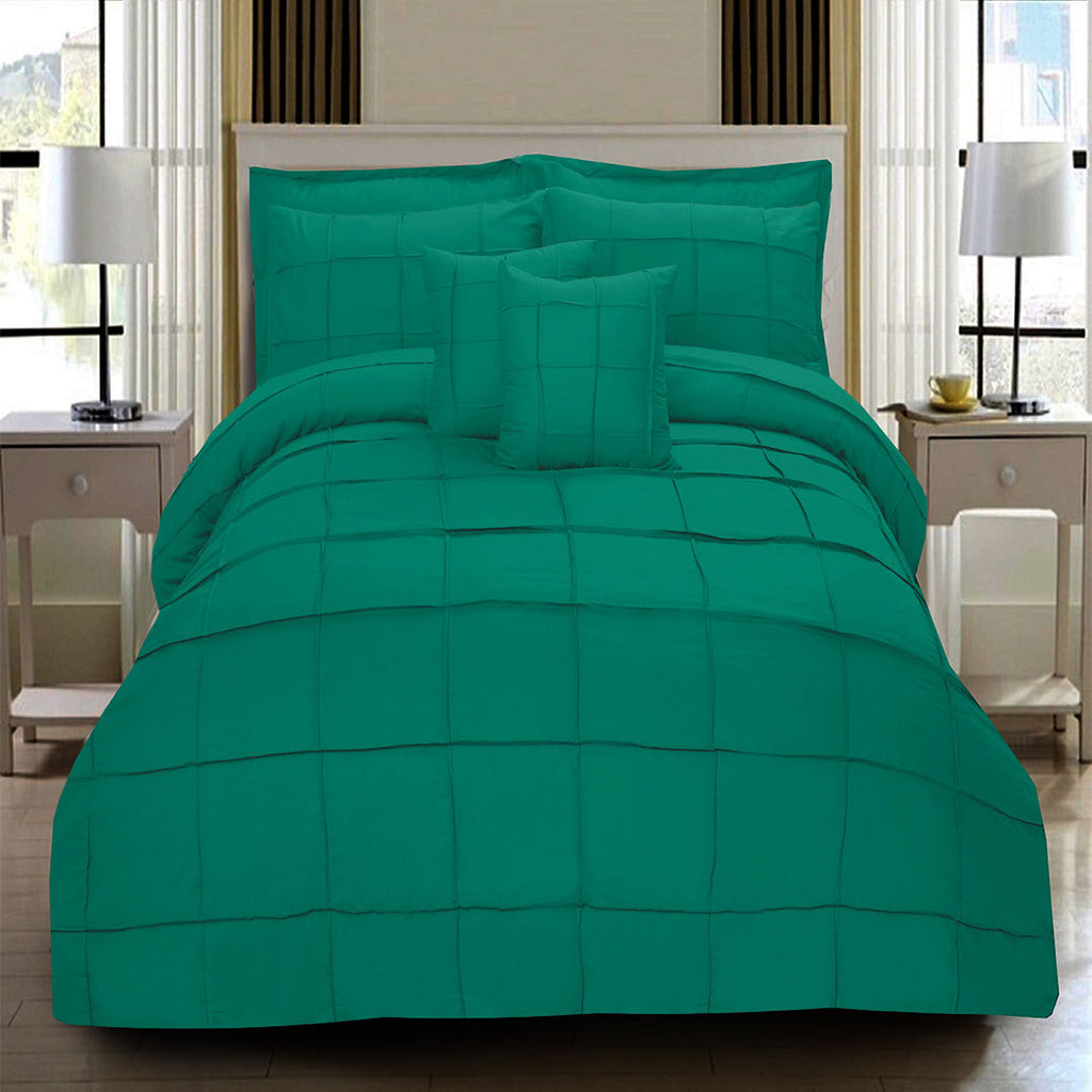 8 Pcs Square Pleated Duvet Set - Teal