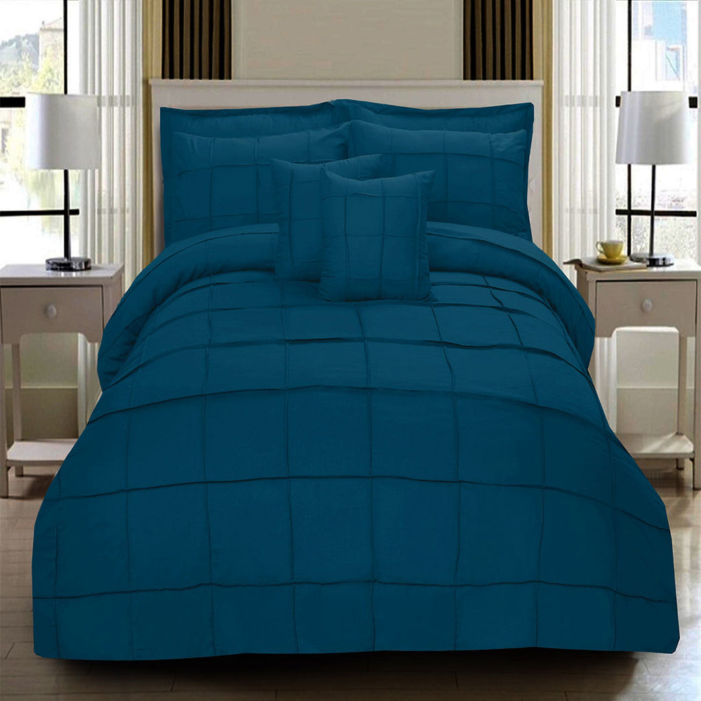 8 Pcs Square Pleated Duvet Set - Turquoise