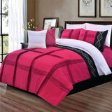 8 Pcs Pleated Embroidered Duvet Set Shocking Pink