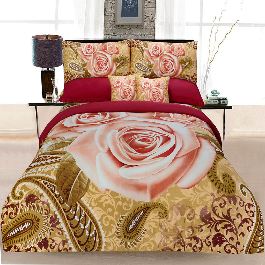 8 Pcs Printed Sateen Duvet Cover Set Beige Maroon PSD - 03