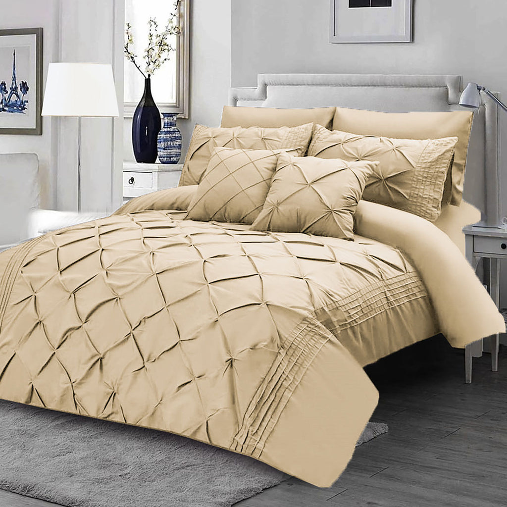 8Pcs Pintuck Duvet Set With Pleats beige