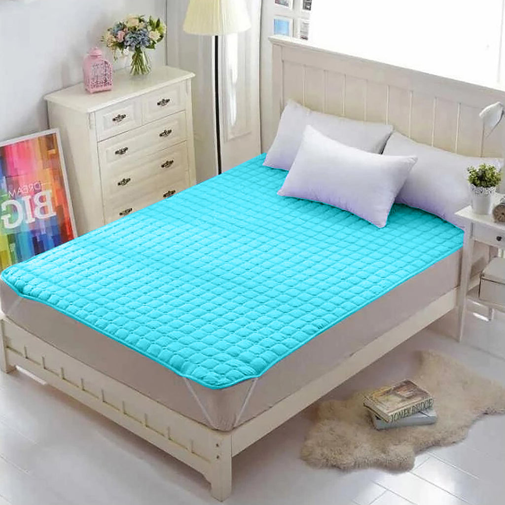 Waterproof Mattress Pad - Sky Blue