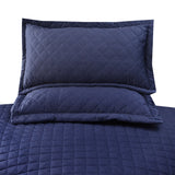 3 Pcs Luxury Satin Strips Bedspread Navy Blue