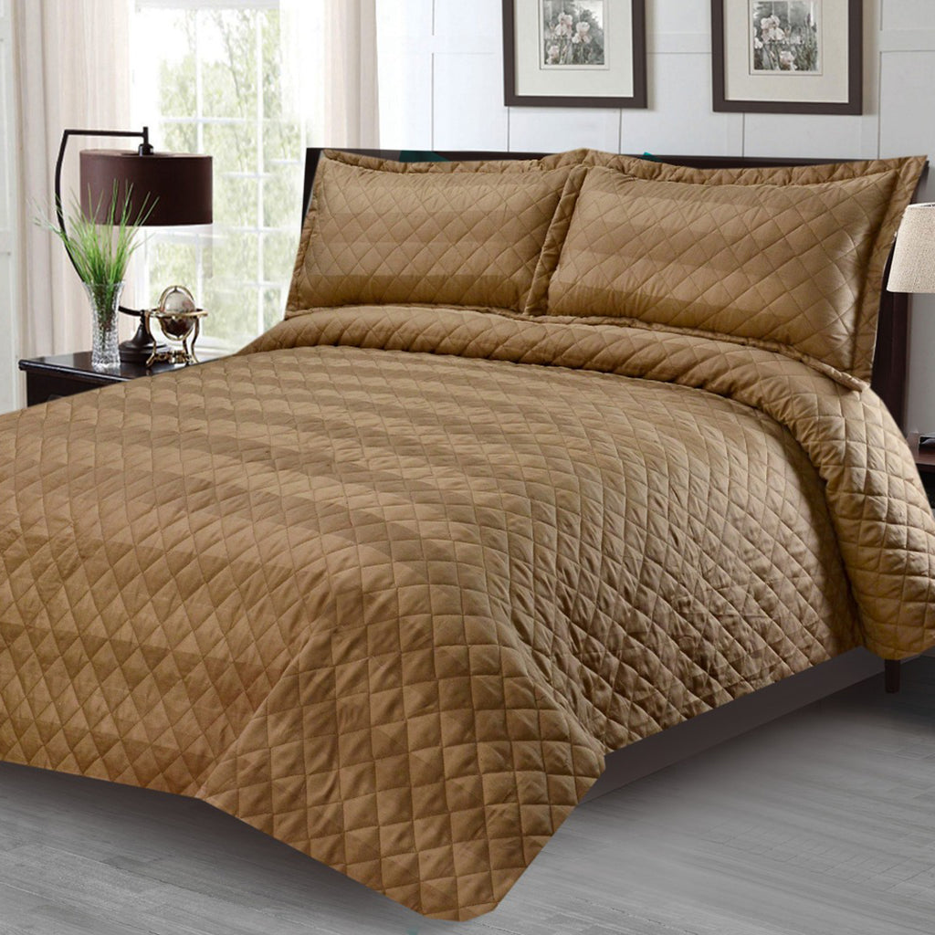 3 Pcs Luxury Satin Strips Bedspread Beige