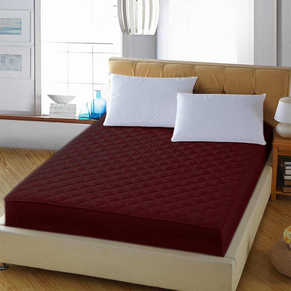 Waterproof Mattress Protector - Maroon