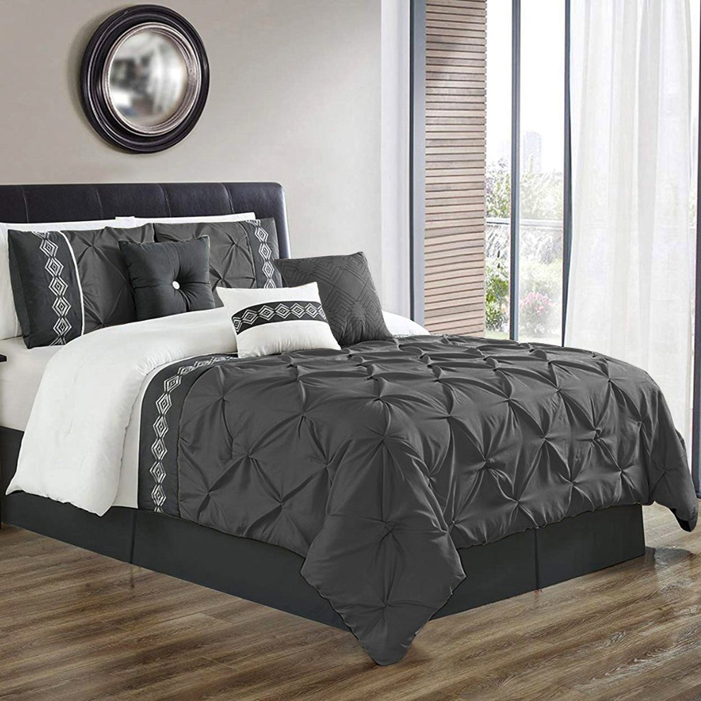 8 Pcs Pintuck Embroidered Duvet Set - Grey 02