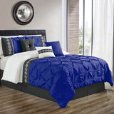8 Pcs Pintuck Embroidered Duvet Set - Royal Blue 02