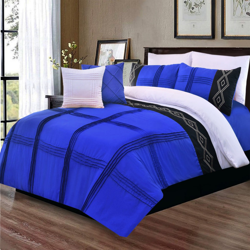 8 Pcs Pleated Embroidered Duvet Set Blue