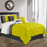 8 Pcs Pintuck Embroidered Duvet Set - Yellow 02