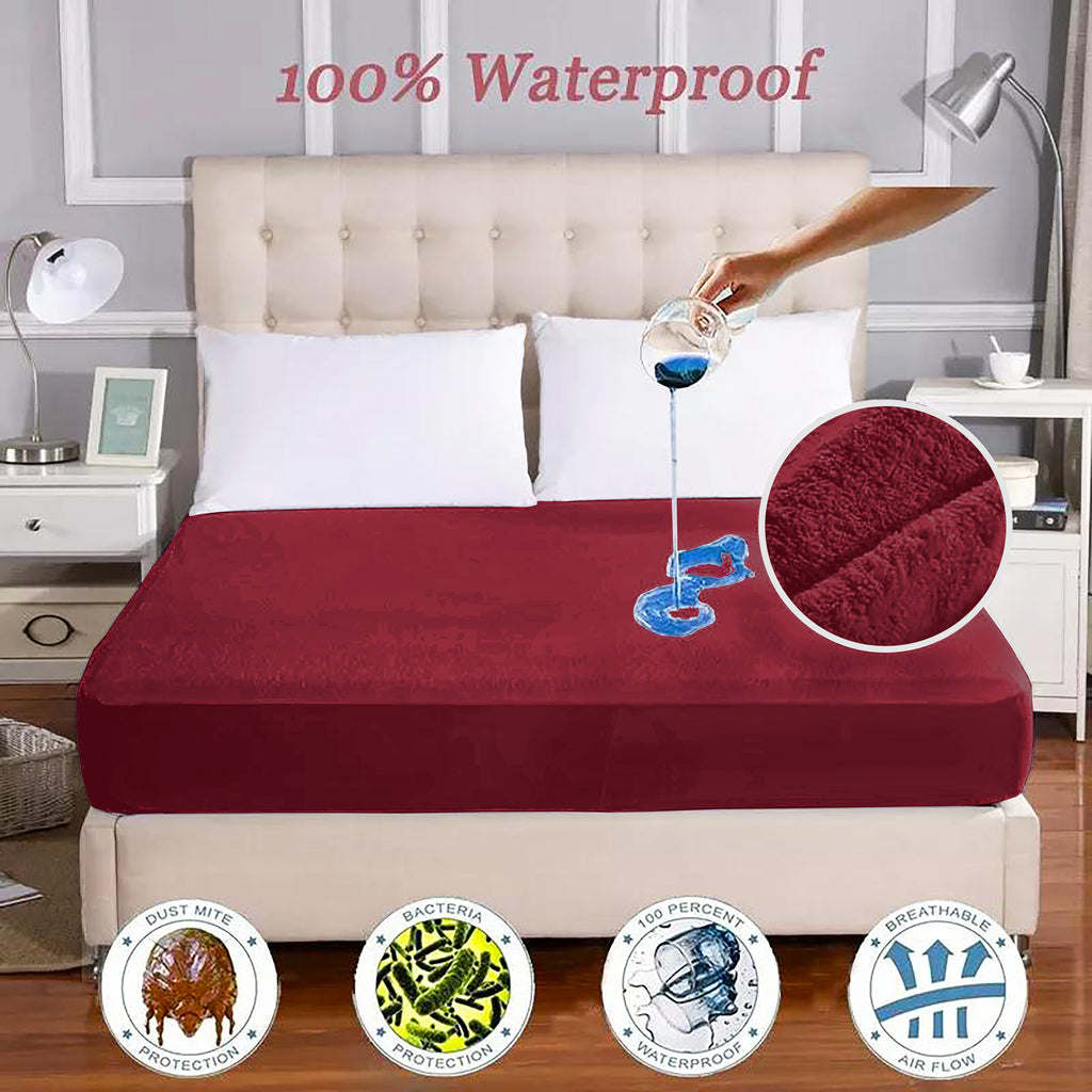 Waterproof Mattress Protector Maroon
