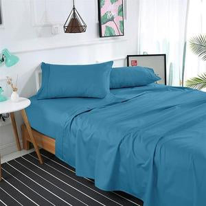 BLUE 11 SOLID BED SHEET SET