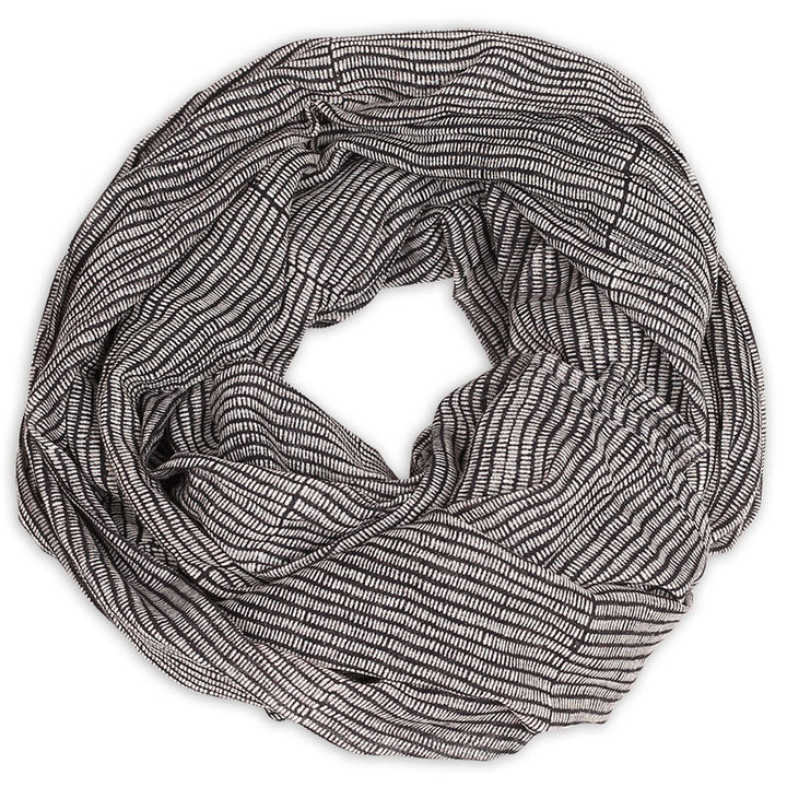 Alice Stripes Midnight Block Printed Scarf