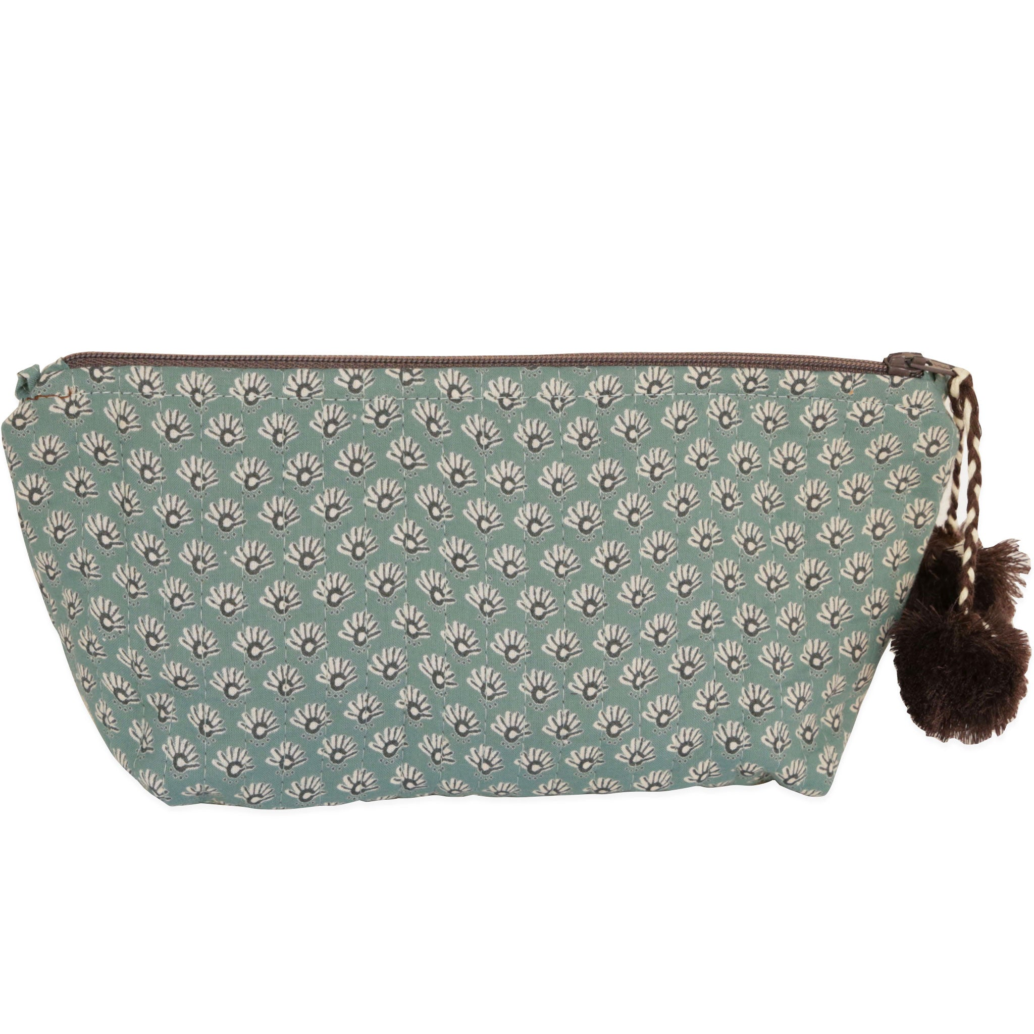 Celeste Sea Foam Block Printed Makeup Pouch