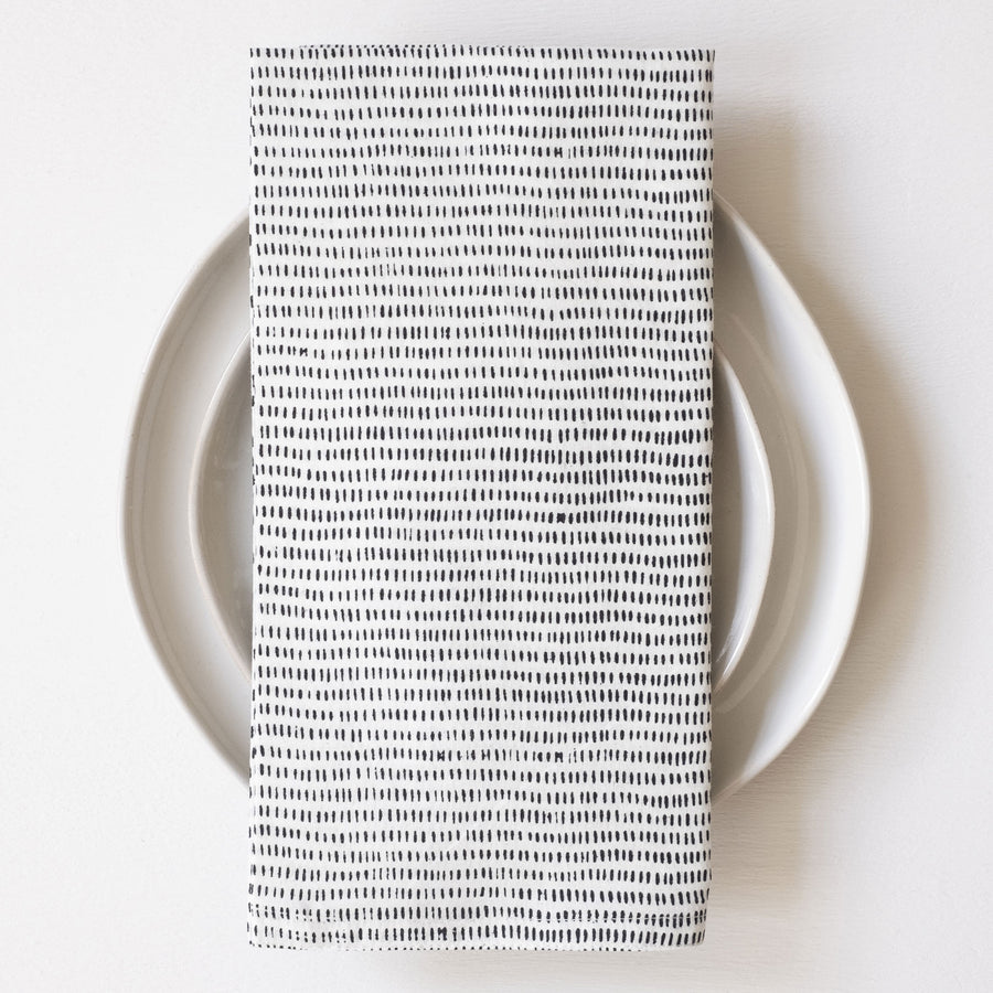 Alice Stripes Black Block Printed Napkins - set of 4