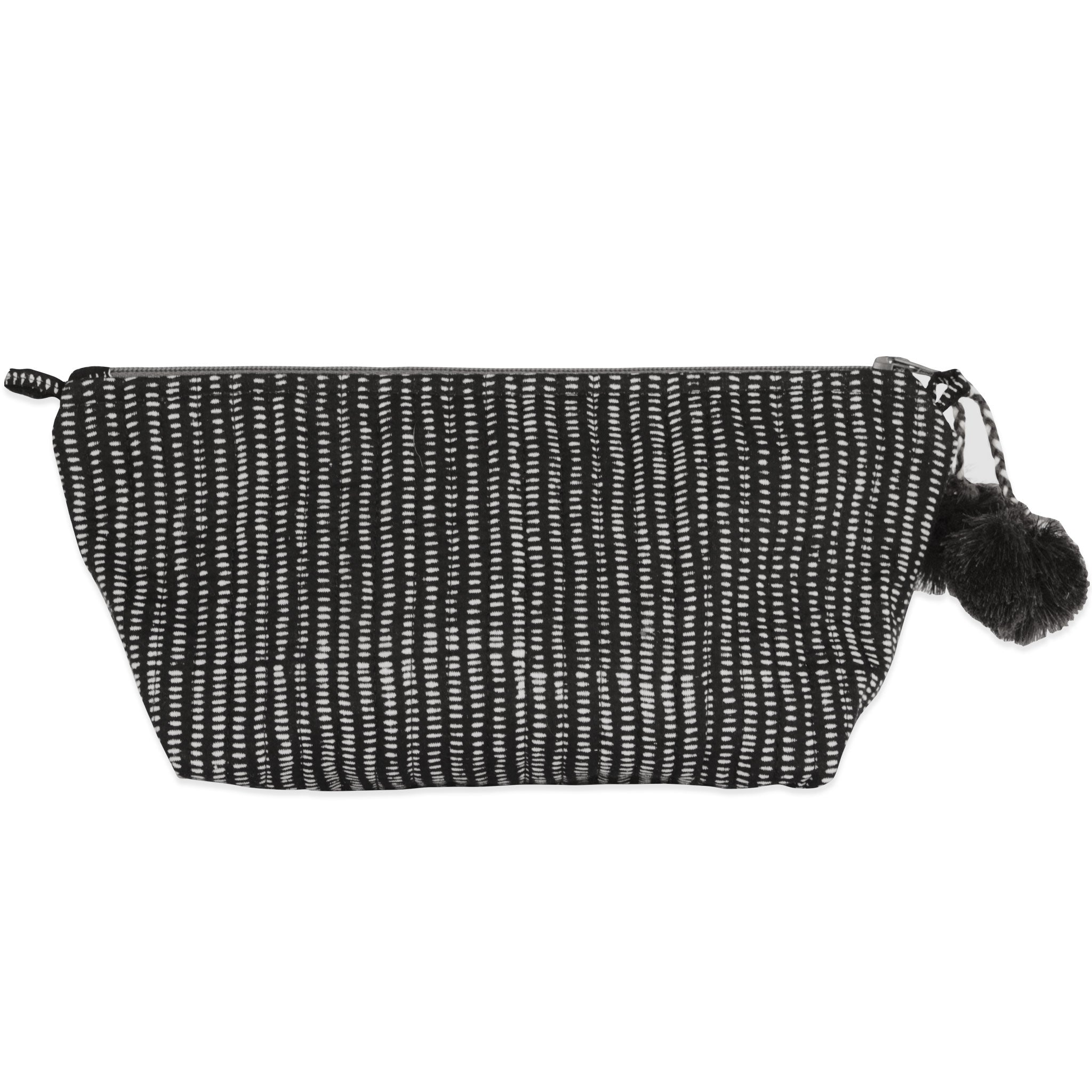 Alice Stripes Midnight Block Printed Makeup Pouch