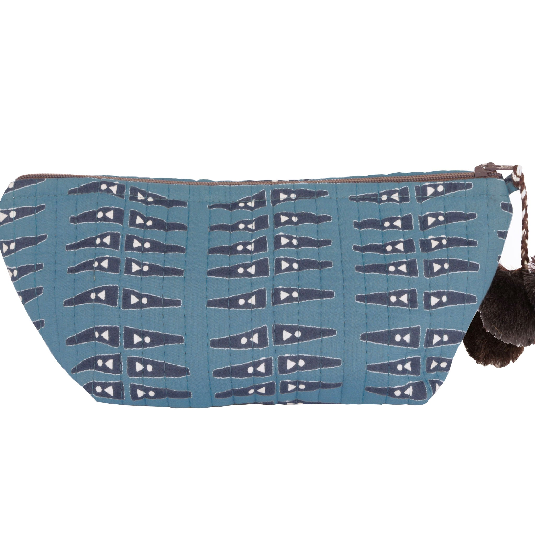 Anabel Blue Block Printed Makeup Pouch