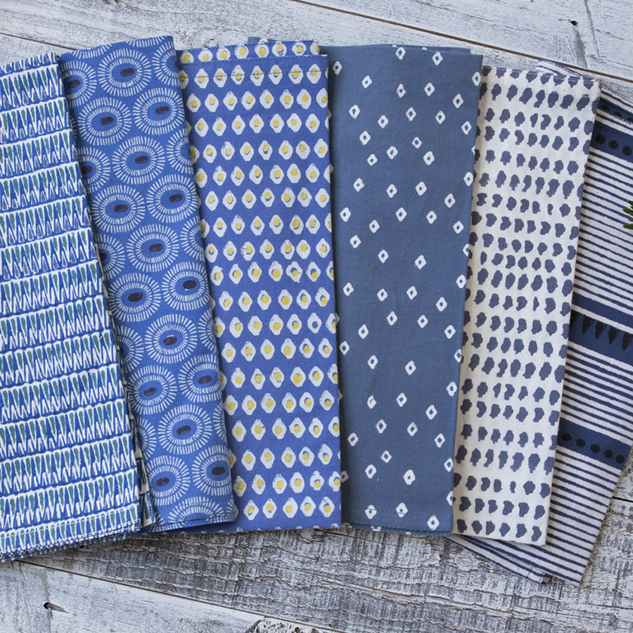 Laya Blue Block Printed Napkins - set of 4