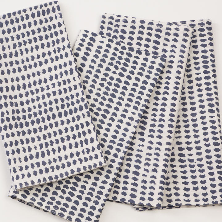 Charcoal Dot Block Printed Napkins - set of 4