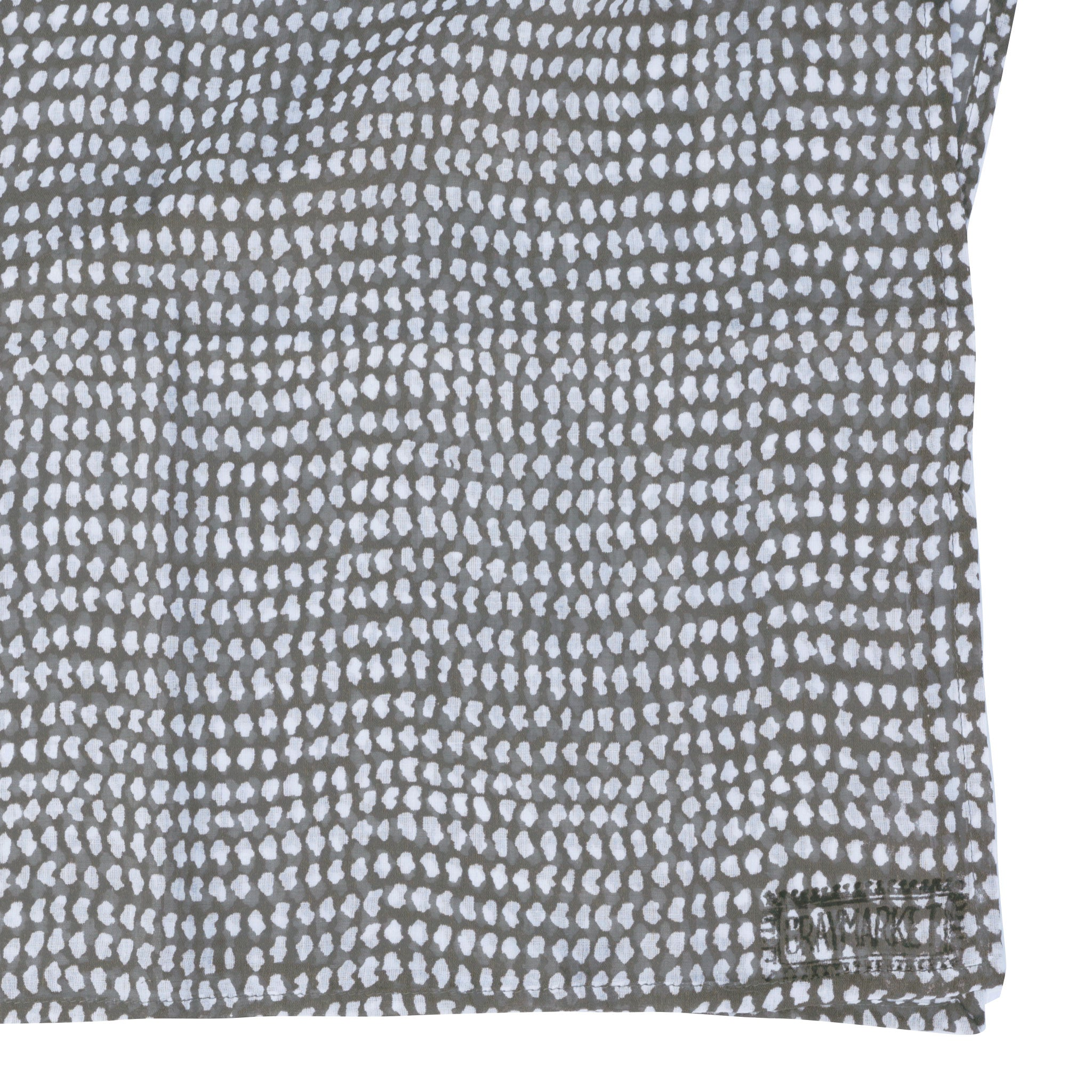 Dark Gray/White Dot Block Printed Scarf